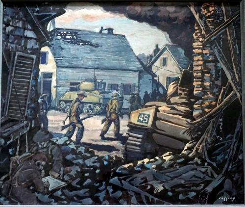 A painting of a soldier in a rubble filled building with more soldiers and a tank outside.