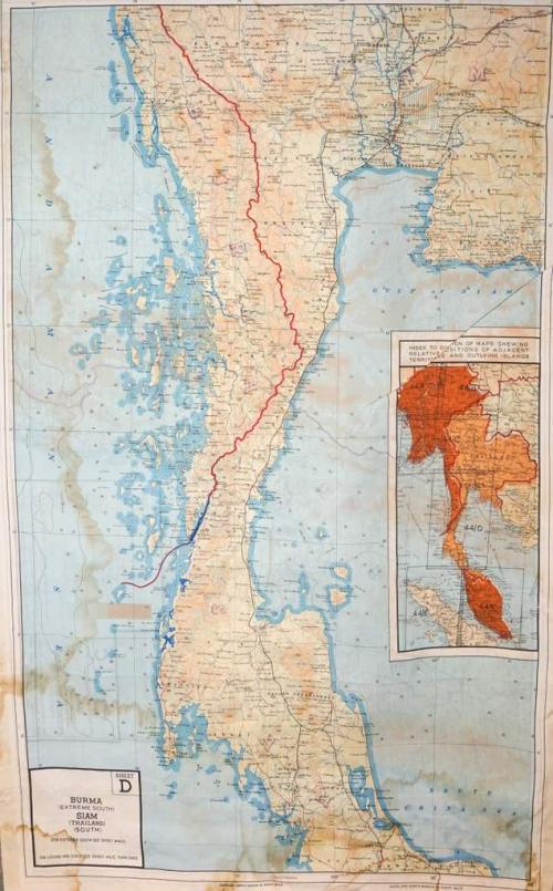 A vividly coloured silk map with India on one side, Burma/Siam on the  other.