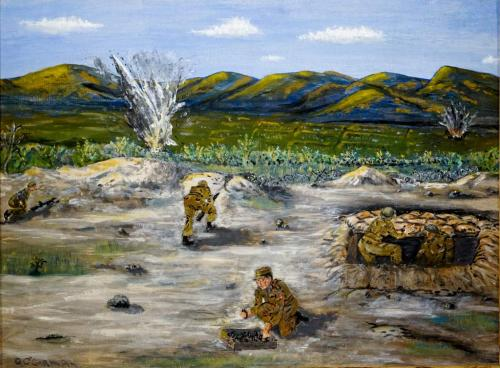An amateur painting of five soldiers in a field with explosions in the  background.