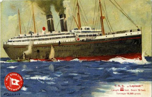 A coloured postcard of a large, luxury ship on the ocean.