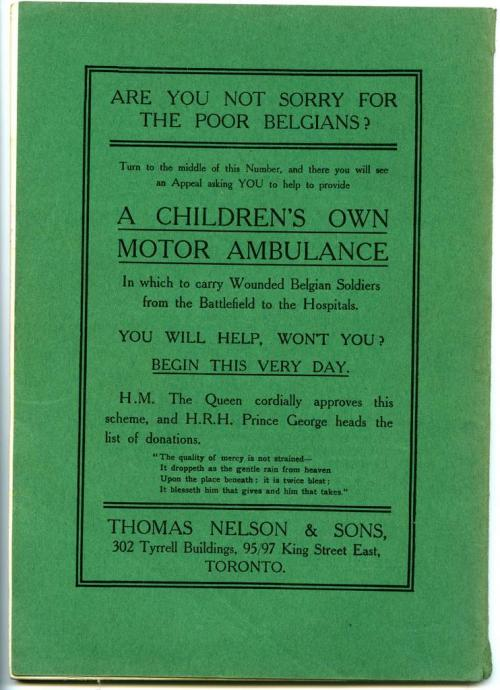 An advertisement on the back cover of a green schoolbook soliciting funds for  an ambulance.