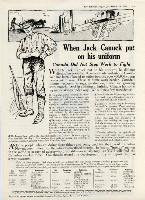 An magazine advertisement with a line-drawing of a solider, with scenes of  work in the background.