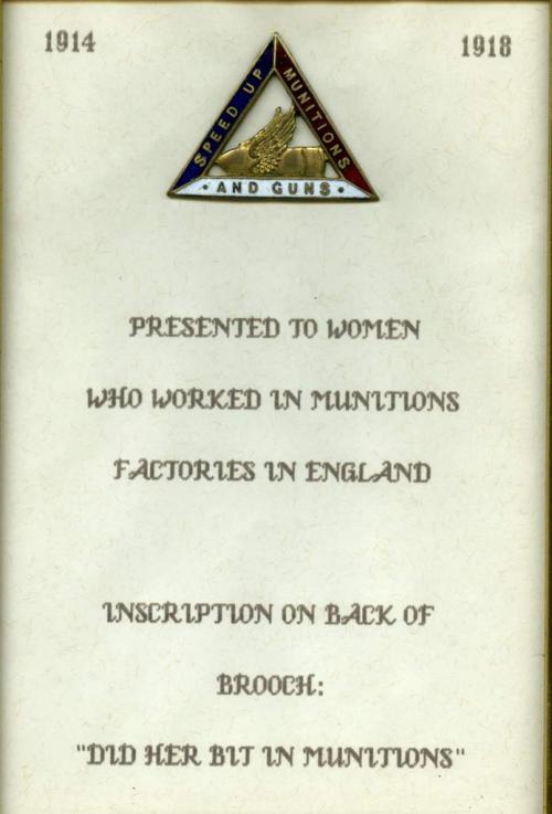"An enamel pin in a triangular shape with ""Speed Up Munitions  and Guns"" written along the sides."