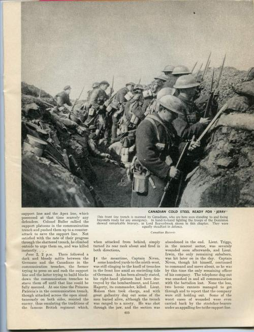 A black-and-white photograph of soldiers in a trench waiting to go over the top.