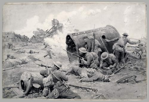 A black-and-white painting of Canadian soldiers with bayonets crouched behind a large boiler.