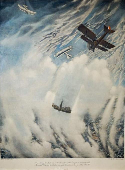 A print depicting WWI airplanes engaged in dogfight.