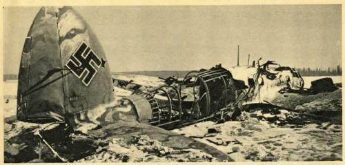 A black-and-white photograph of an airplane crashed on a snowbound landscape.
