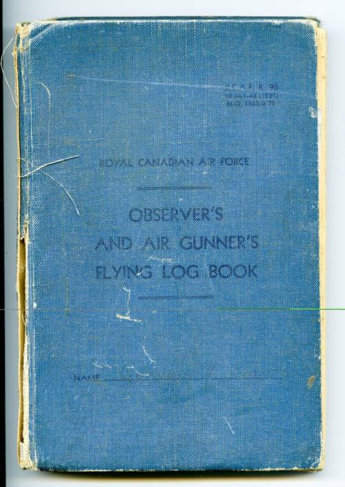 A blue hardcover book with pages on which to record a gunner's flight  information.