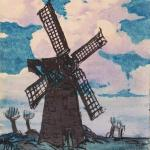 A painting of a windmill against a blue and pink sky.
